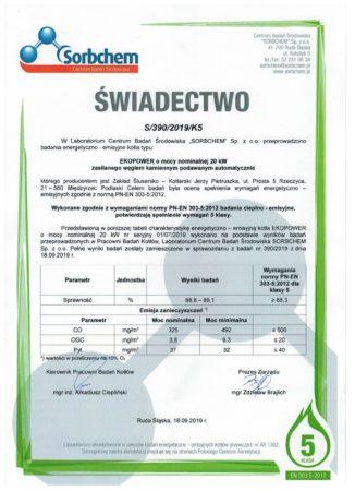 Certyfikat - 5 KLASA ekogroszek
