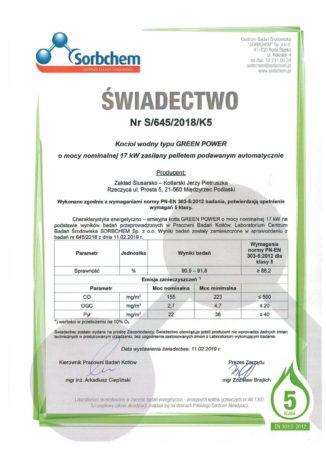 Certyfikat - 5 klasa pellet