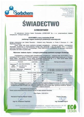Certyfikat - ECO DESIGN ekogroszek