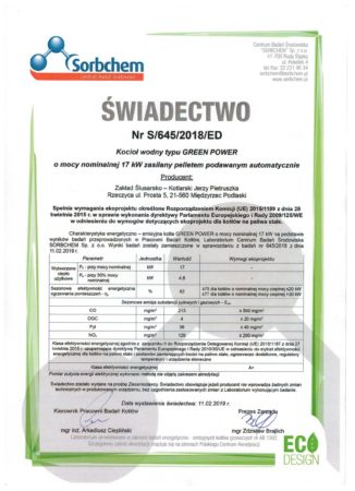 Certyfikat - ECO DESIGN pellet
